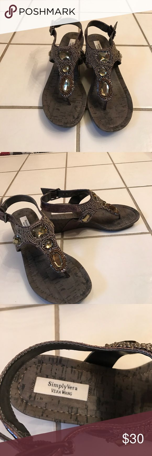 Vera Wang pewter sandals Beaded and stone detail. Worn once. No mArks or flaws. Vera Wang Shoes Sandals