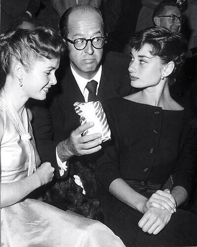 Audrey, Debbie Reynolds and Phil Silvers photographed at the Ice Follies show, 1954