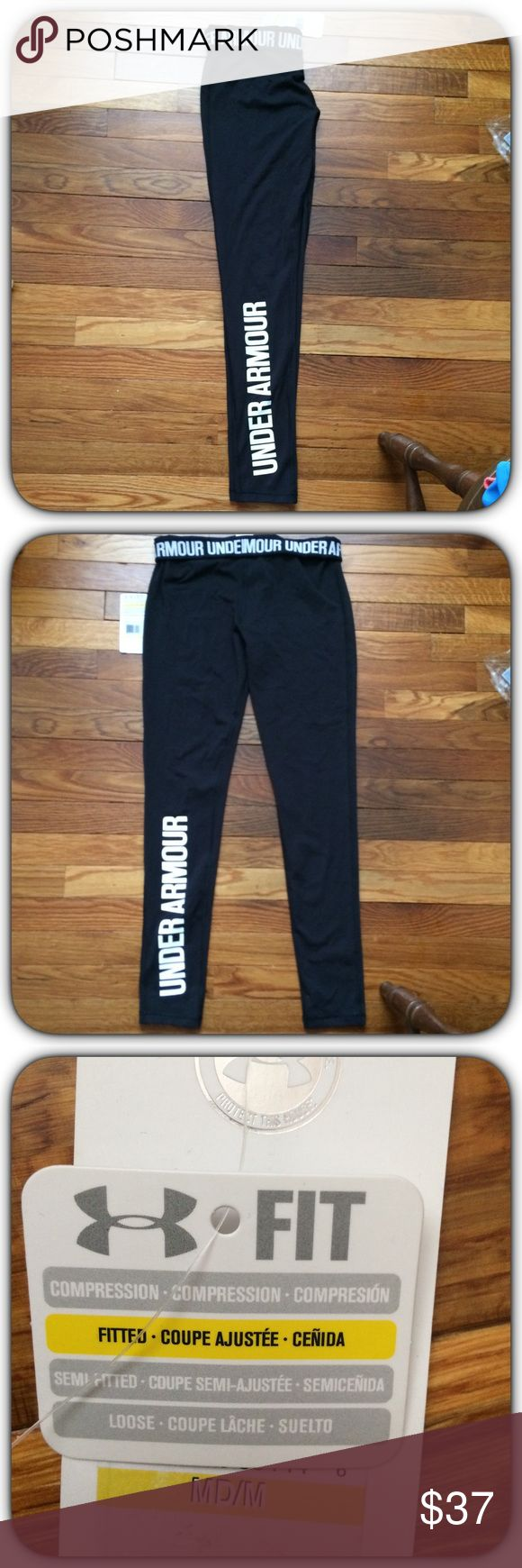 NWT! Under Armour Leggings NWT! Under Armour Logo Leggings! Size Medium Fitted! Black With White Logo! Brand New Excellent Condition! ** Free Under Armour Headband W/ Every UA Purchase In My Closet While Supplies Last!!! **   ✨ Repeated Buyer Discounts Offered & Available!!! ✨*Save to bundle more UA in my closet! * Under Armour Pants Leggings
