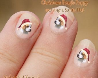 Kerst Beagle Nail Art Stickers, Puppy hond het dragen van een santa hat, Nail st…