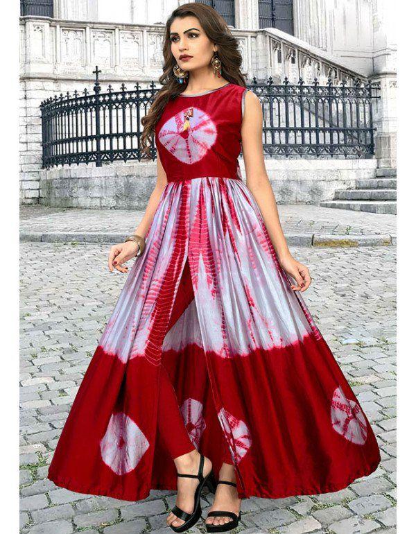 Silver Grey And Maroon Satin Silk Kurti Long Dress Design Kurti Designs Party Wear Long Kurti Designs