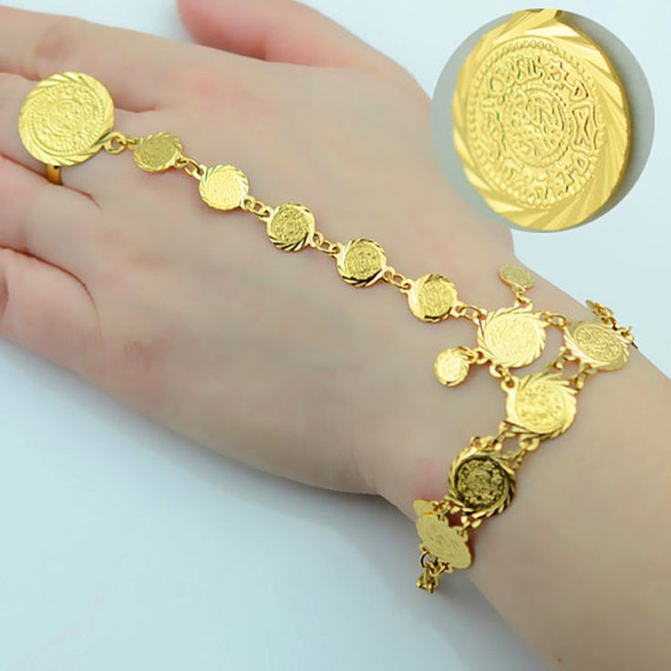 Wholesale Gold Coin Bracelet for Women,Arab Chain Middle Eastern Gift,Ancient Coins Jewelry Africa/Indian Wedding Item #048006