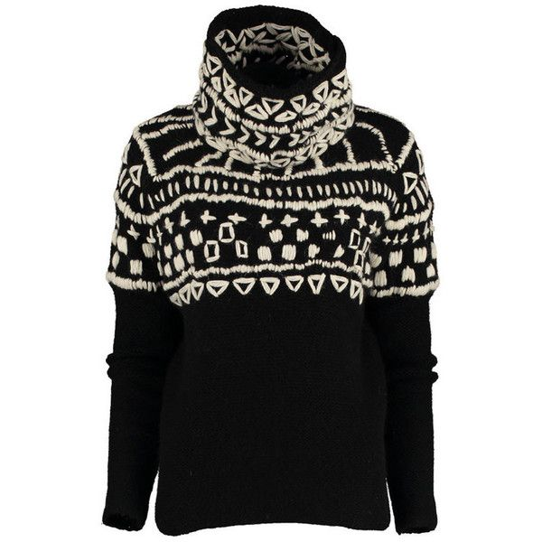 Hand-Embroidered Roll Neck Jumper in Black (46385 RSD) ❤ liked on Polyvore featuring tops, sweaters, black chunky sweater, loose sweater, funnel neck sweater, stitch sweater and hand knitted sweaters