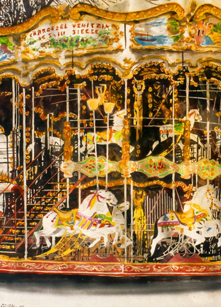 "carousel montmartre, paris 30"" x 22""  micheal zarowsky / watercolour on arches paper / available $2100.00"