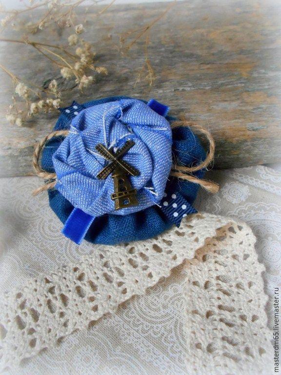 Купить Брошь из льна в стиле Бохо Синее Море - темно-синий, брошь бохо, брошь