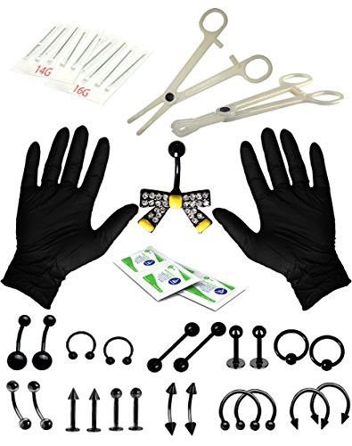 BodyJ4You® Body Piercing Kit Black Bow Belly Rings Set Tongue Tragus Eyebrow Nipple 35 Pieces