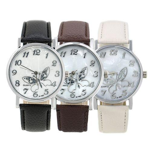 Women's Girls' Butterfly Arabic Numbers Dial Marbling Analog Quartz Wrist Watch