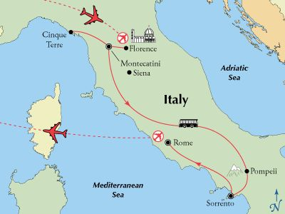 Tour Italy from Tuscany visiting Cinque Terre and Florence, to the Amalfi Coast and on to Rome.