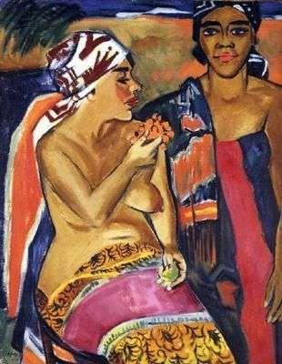 Femmes aux habits colorés, par Hermann Max Pechstein