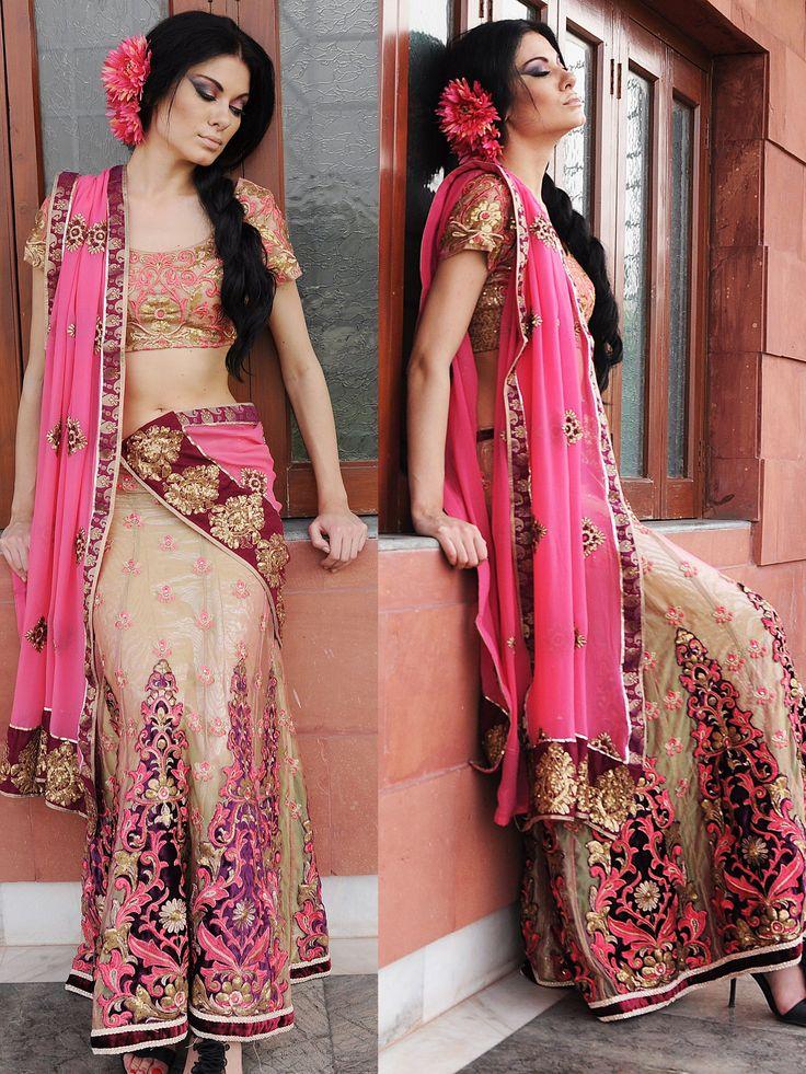 Deep Peach Net #Lehenga #Choli with #Dupatta @ $165.03 | Shop Here: http://www.utsavfashion.com/store/sarees-large.aspx?icode=sllzb16