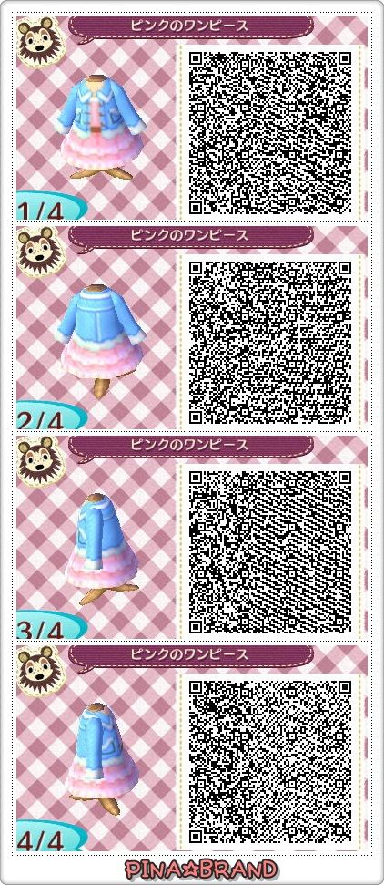 Animal Crossing New Leaf #acnl qr codes Awww it reminds me of Rose Tyler's dress from the episode of Doctor Who when they went to the 50's