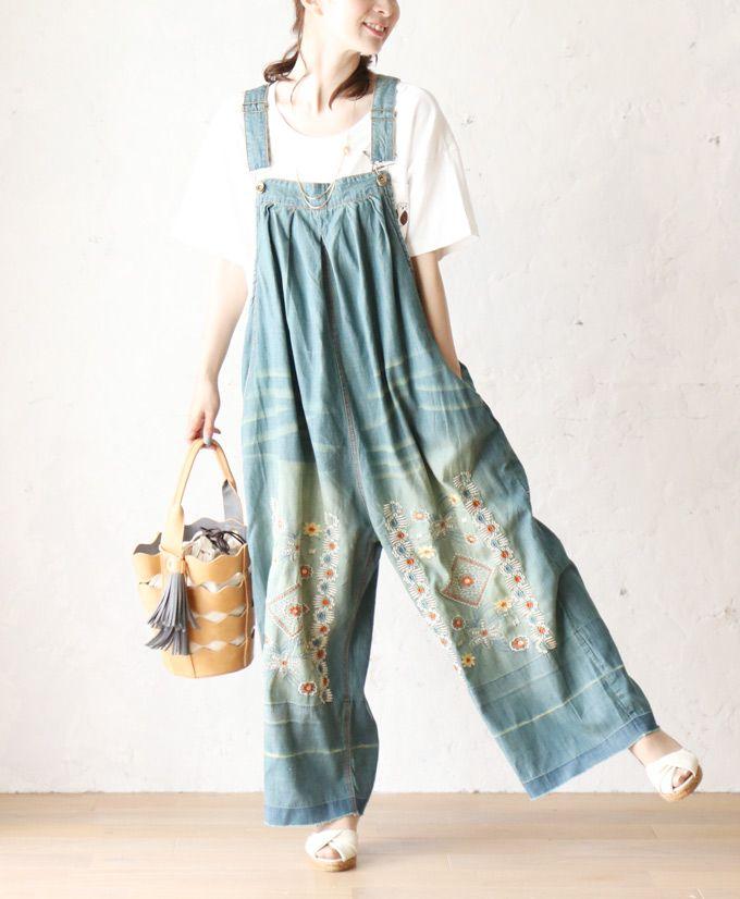 【再入荷♪7月30日12時&22時より】「french」花刺繍の大人可愛いデニムサロペット
