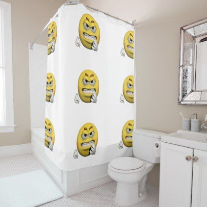 Yellow angry emoticon or smiley shower curtain - shower curtains home decor custom idea personalize bathroom