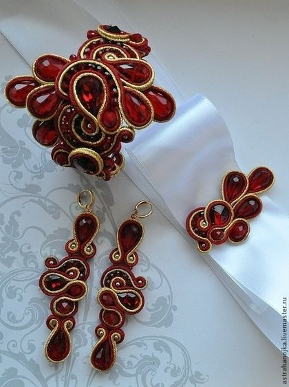 Свадебный комплект Рубиновое счастье - ярко-красный,браслет,свадебный комплект