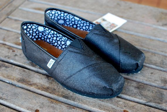 MURDERED Out Black Glitter TOMS shoes $79.00
