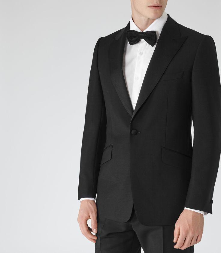 Mens Black Peak Lapel Tuxedo - Reiss Mayfair