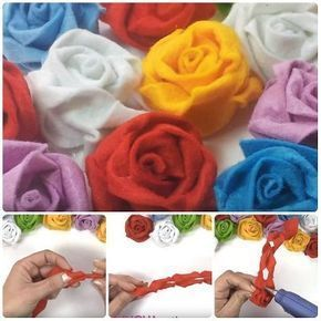 Come fare rose in pannolenci attorcigliate: basta preparare una striscia di pannolenci, fare dei taglietti, attorcigliare e incollare. Video Tutorial. #diy #flower #handmade