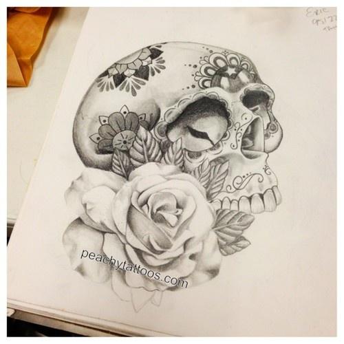 Puerto Rican sugar skull and rose tattoo design