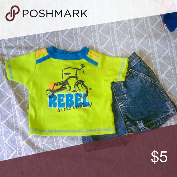 """Rebel & Shorts Outfit Lime green tricycle """"Rebel"""" shirt with jean shorts. Matching Sets"""