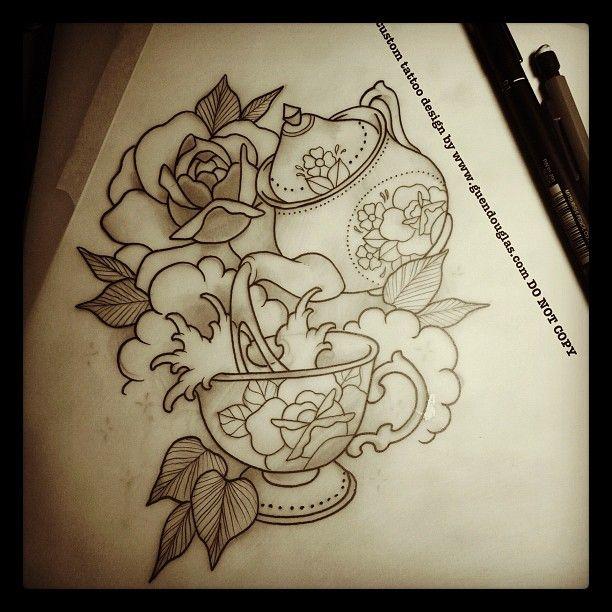 tea themed/ line work/ vintage tattoo