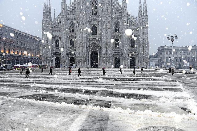 Snowfall in Duomo Square by angelocesare, via Flickr
