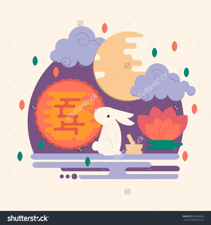 Chinese Mid Autumn Festival Illustration In Flat Style. Vector Lunar Festival Concept With Rabbit, Mortar And Pestle, Moon Cake And Lotus…