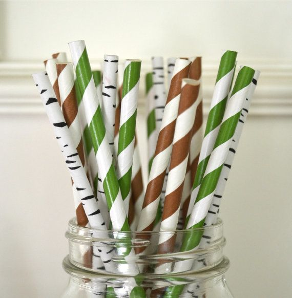 Woodland Party Rustic Wedding Paper Straws set of 30 GREEN BROWN BIRCH by TheSimplyChicShop, $4.80