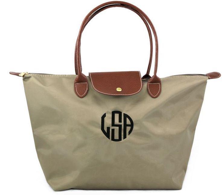 Large Beige Monogram Handbag | Monogram Purse