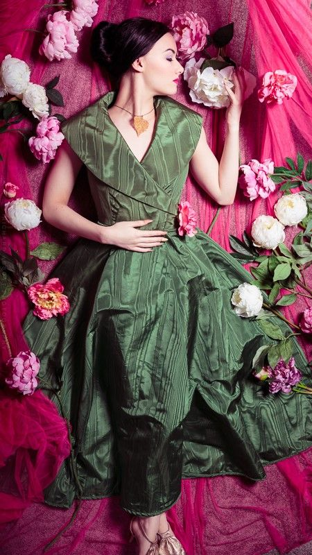 Green taffeta 1950's style wrap gown. Model: Skylar Leigh