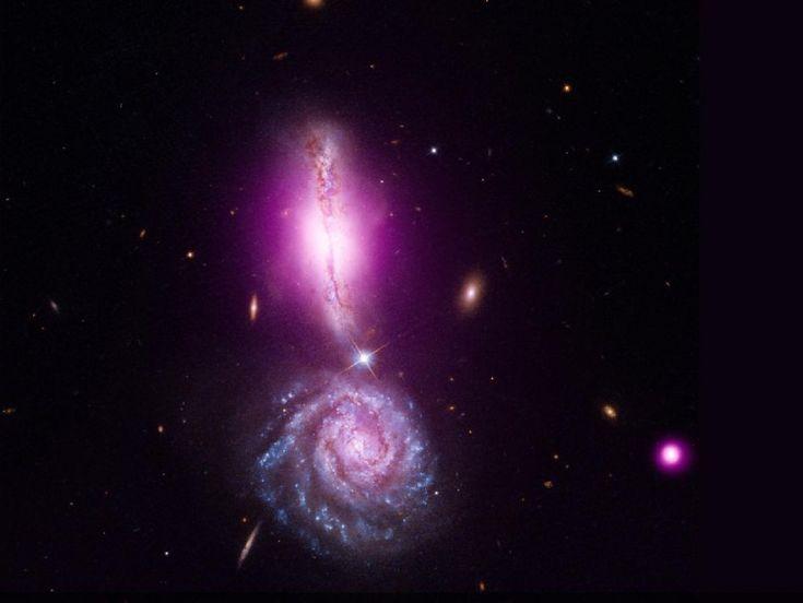 """W 340, anche conosciuto come Arp 302, è un affascinante oggetto spaziale formato da due galassie nella prima fase della loro interazione gravitazionale. Quella più in alto, W 340 North, sembra più """"sottile"""" perché osservata di taglio. In viola, la resa dei dati raccolti da Chandra, il telescopio spaziale agli infrarossi. In rosso, verde e blu quelli ottici catturati da Hubble."""