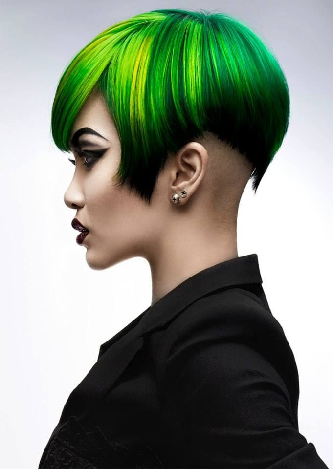 green to yellow ombre hair with undercut.
