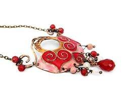 Enamel necklace - Be my Valentine by Boroka Halasz