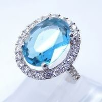 Sterling Silver Jewellery, Blue Diamond Cocktail Ring