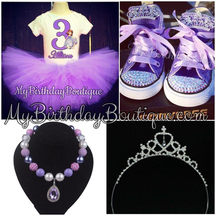 Sofia the first birthday outfit, tutu set, Sofia birthday shoes, sofia Tiara, sofia pendant necklace with