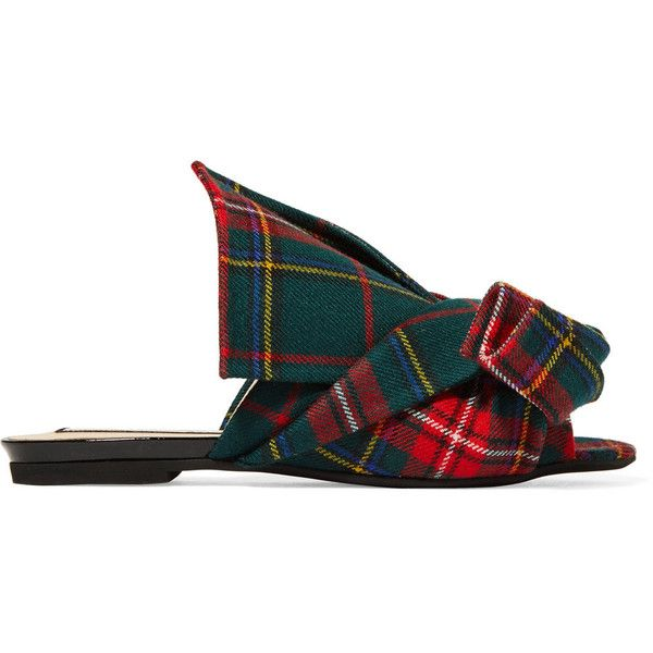 No. 21 Knotted plaid canvas slides ($455) ❤ liked on Polyvore featuring shoes, slip on flats, multi color flats, canvas slip on shoes, n21 shoes and plaid shoes
