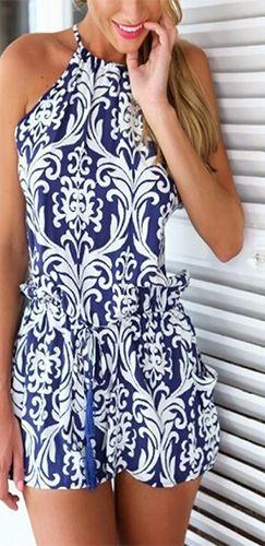 Navy Blue White Baroque Spaghetti Strap Halter Neck X Back Tie Waist Short Romper