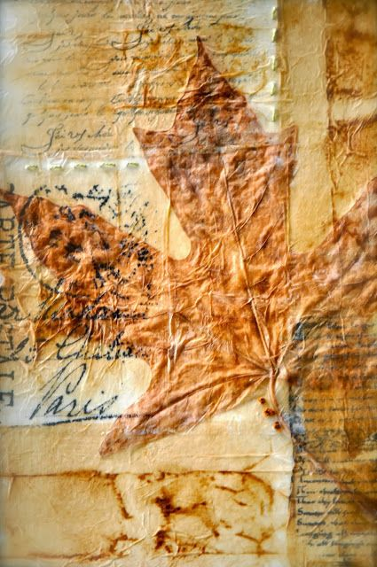 Patina Moon: Mixed Media using tea bags. Consider using a hymn or page from the bible