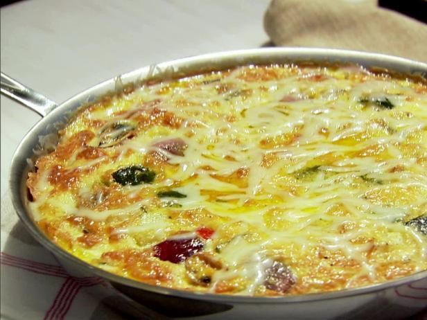 Get Roasted Vegetable Frittata Recipe from Food Network  -  from ina garten.  veggies, cheese, eggs, butter, half and half, etc.  breakfast, brunch, vegetarian, sounds good, want.     lj