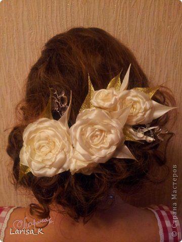 Украшение Свадьба Моделирование конструирование Цветы для причесок подружек невесты Ленты фото 4