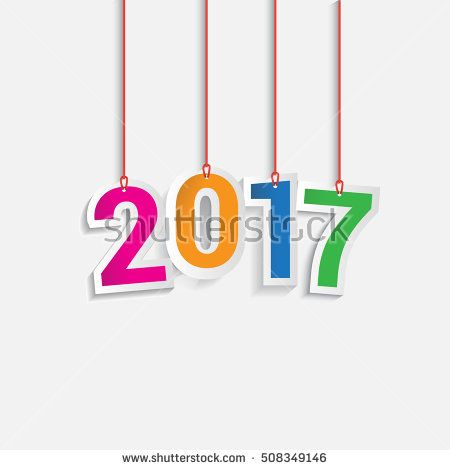 Happy New Year 2017 colorful hanging text design background. Calendar template vector elements for greeting card.