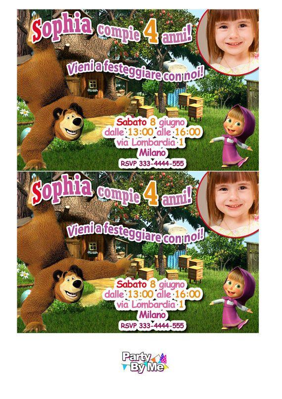 Personalizada de MASHA y el oso fiesta invitaciones por PartyByMe