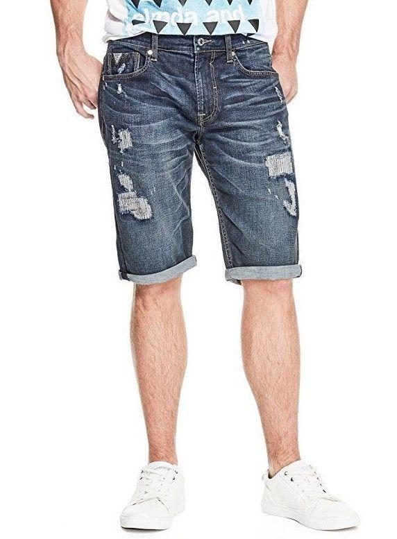 "e8de45d9 GUESS Men's Rogue Denim Ripped 14"" Stretch Shorts Size: 38 #GUESS  #CasualShorts"