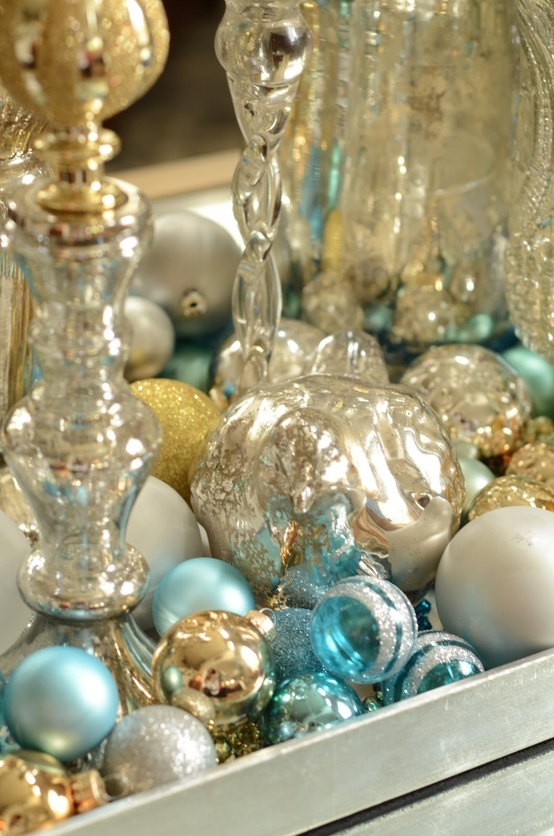 Silver Gold Turquoise Holiday Decor For The Home