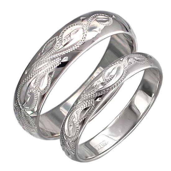 Изящные парные обручальные кольца с алмазной огранкой из серебра 4мм и 3мм Р3О7511017-Р3О7511016 / Серебряные обручальные кольца без камней