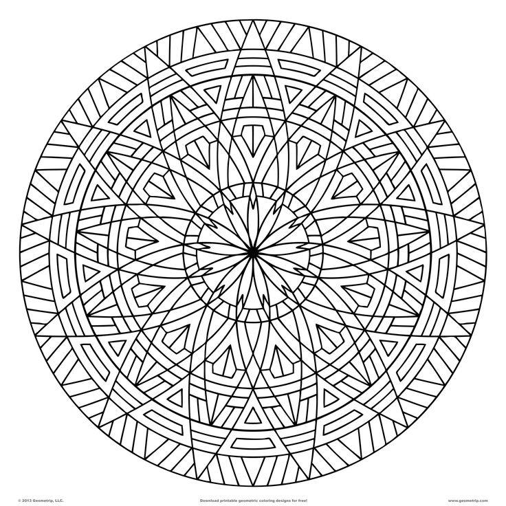 images of printable hard  geometric coloring pages | Geometrip.com - Free Geometric Coloring Designs - Circles