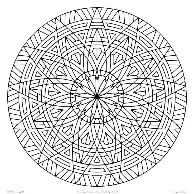 Images of printable hard geometric coloring pages for Circle pattern coloring pages