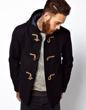 Image 1 of ASOS Duffle Coat In Navy