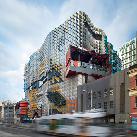 Incredible 8-bit-esque pixelated facade of metal fins.  RMIT Swanston Academic Building by Lyons