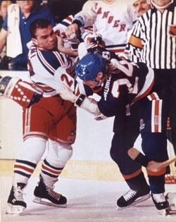 Tie gets into a fight while playing for the New York Rangers