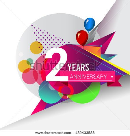 2 years Anniversary logo, Colorful geometric background vector design template…
